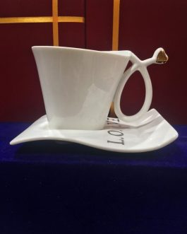 Riva Bone China Cup and Saucer Set – White
